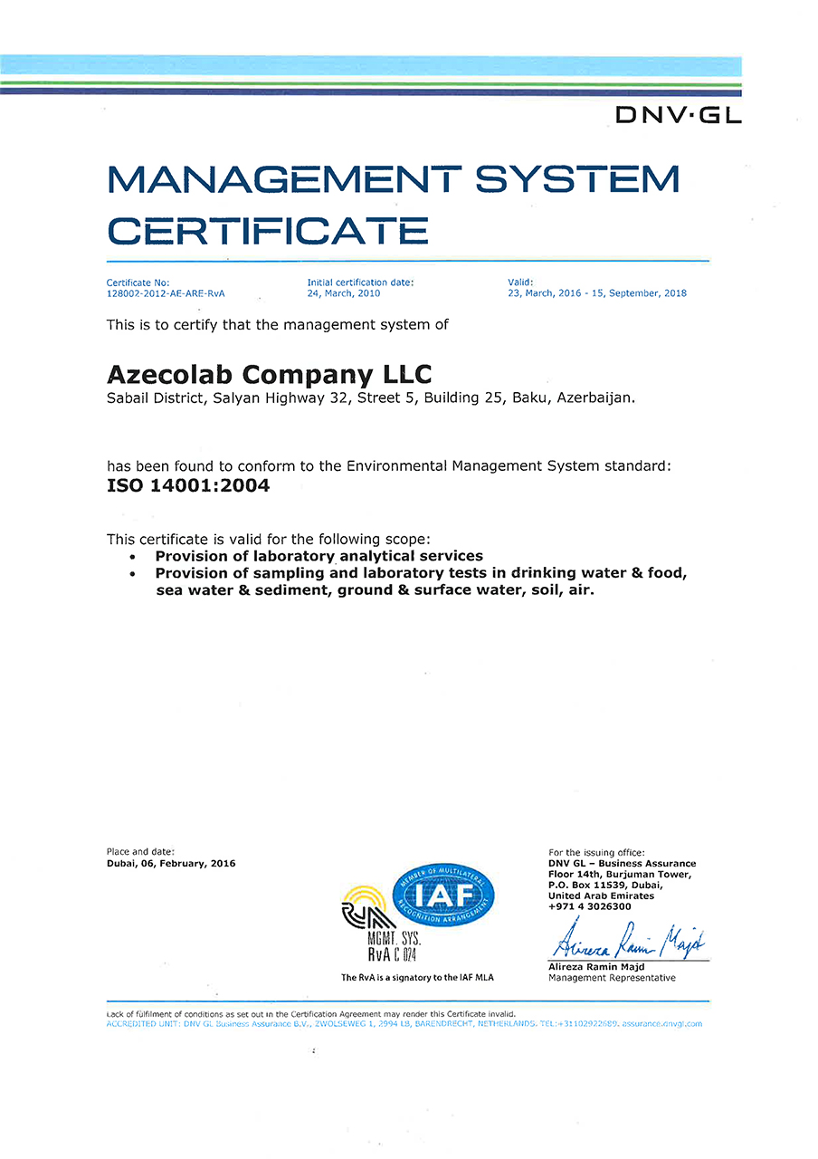 Management system azecolab azecolab laboratory is also accredited by the state committee on standardization metrology and patents of azerbaijan republic 1betcityfo Gallery